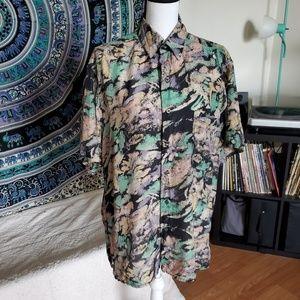 Vtg Robert Stock 80's 100% Silk Shirt